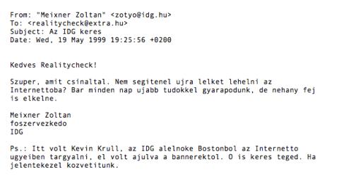 Az IDG-s Meixner Zoltán levele